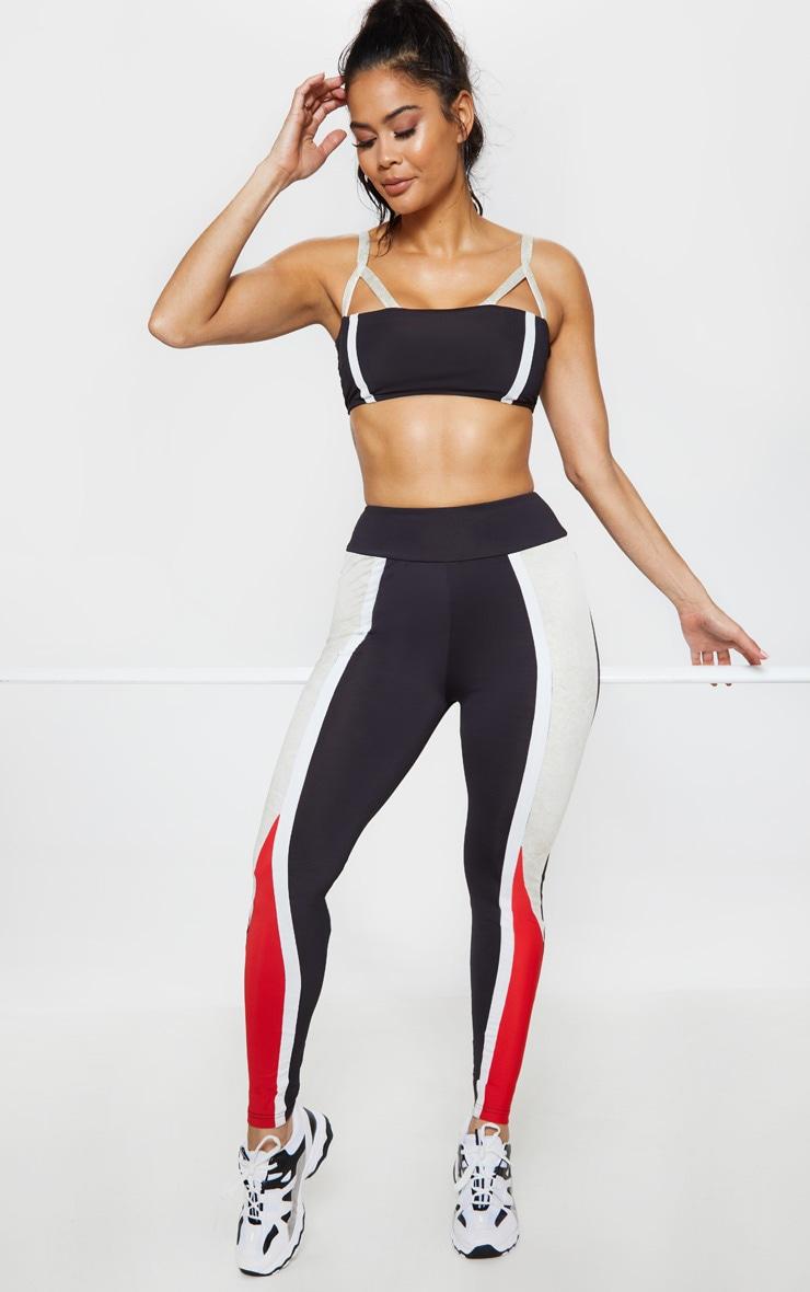 Black Marble Print Panelled Gym Legging 1