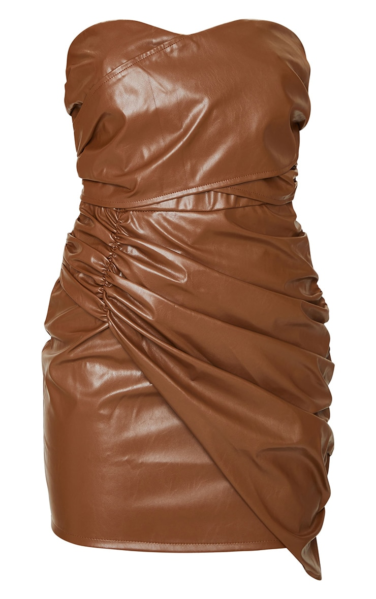 Chocolate Faux Leather Ruched Drape Bandeau Bodycon Dress 5