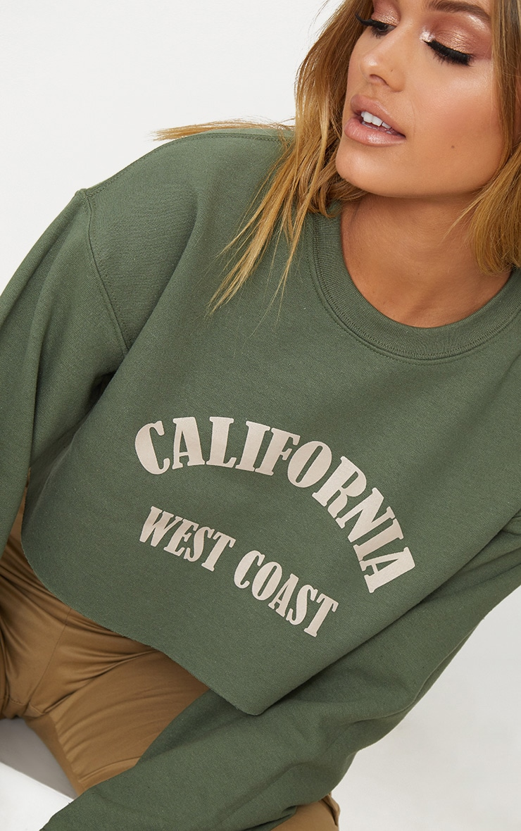 Khaki California Slogan Crop Sweater  5
