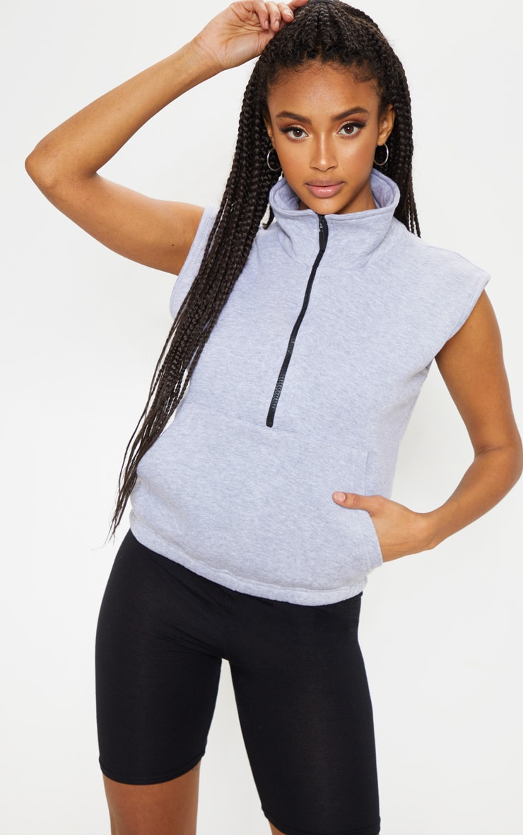 Sweat oversize sans manches gris à zip 1