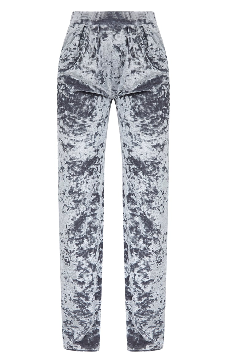 Silver Crushed Velvet Wide Leg Suit Trousers 3