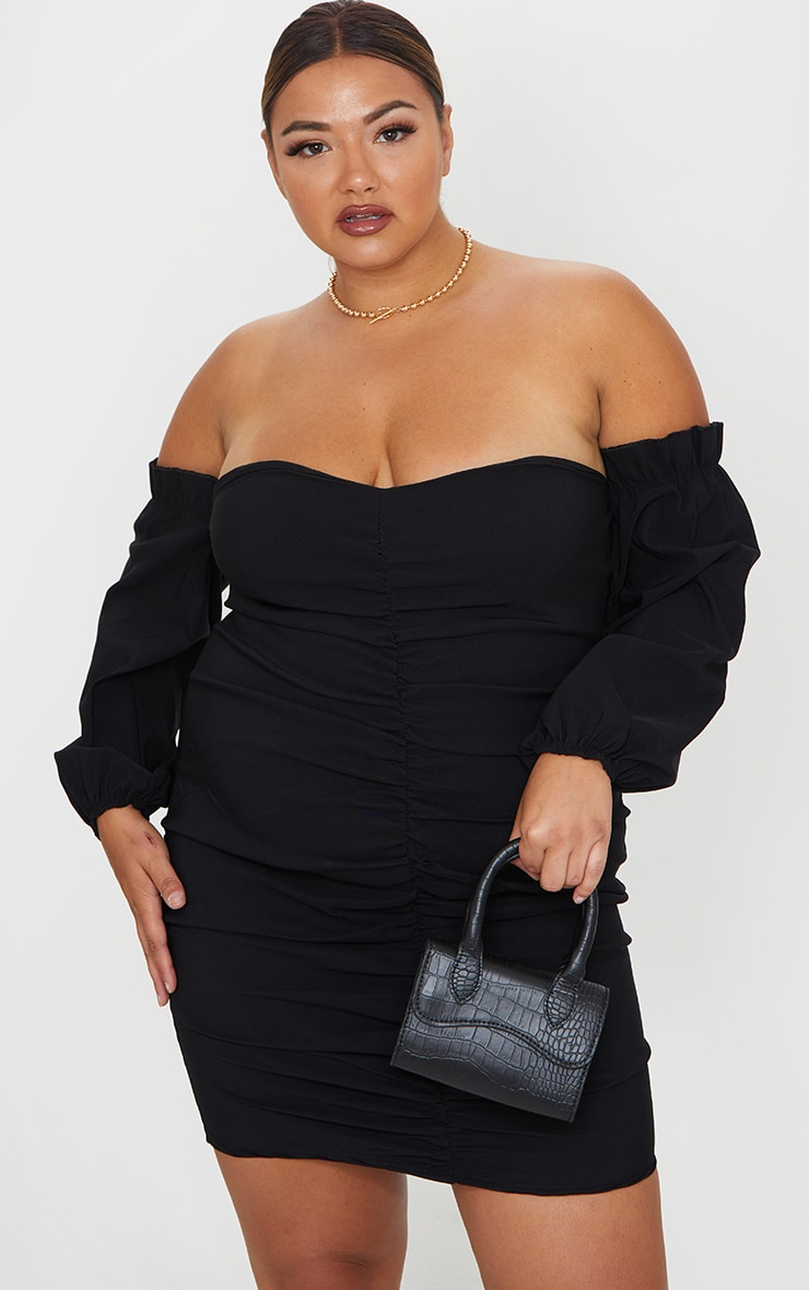 Plus Black Stretch Bardot Ruched Front Bodycon Dress 1