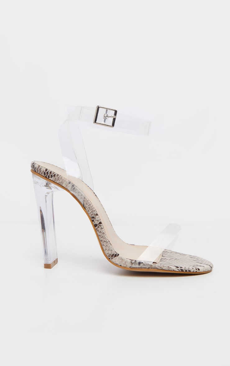 Snake Flat Heel Clear Strap Sandal 3