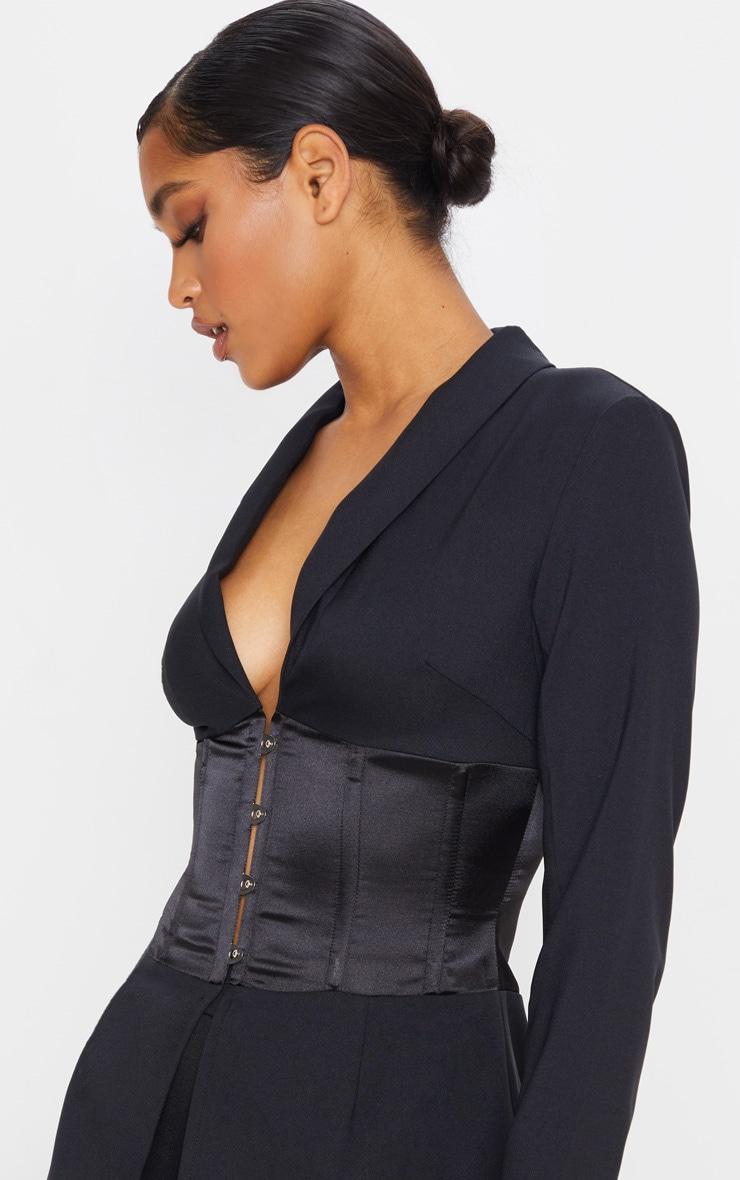 Blazer tissé noir à corset satiné contrastant 4