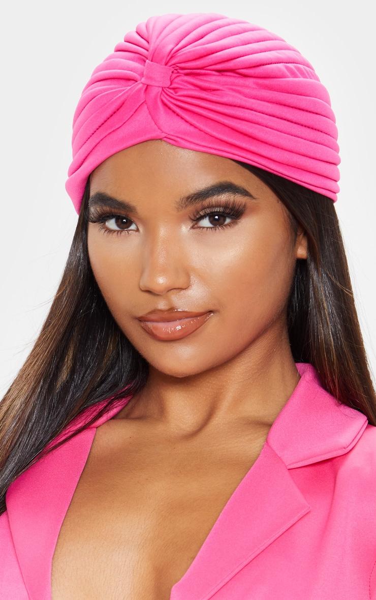 Fuchsia Pink Knotted Turban  1
