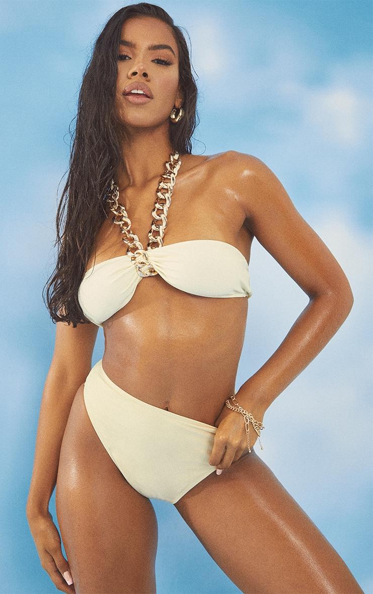 Cream Chunky Chain Bikini Top 1