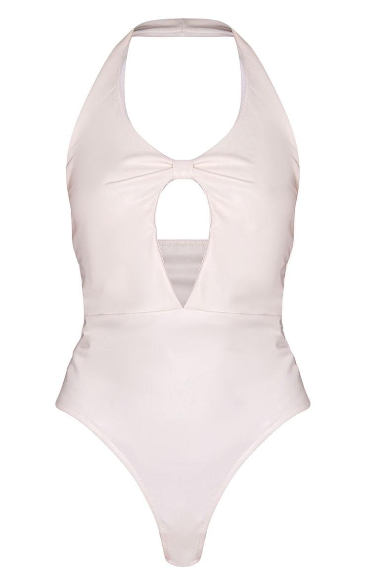 Cream PU Knot Front Halterneck Bodysuit 5
