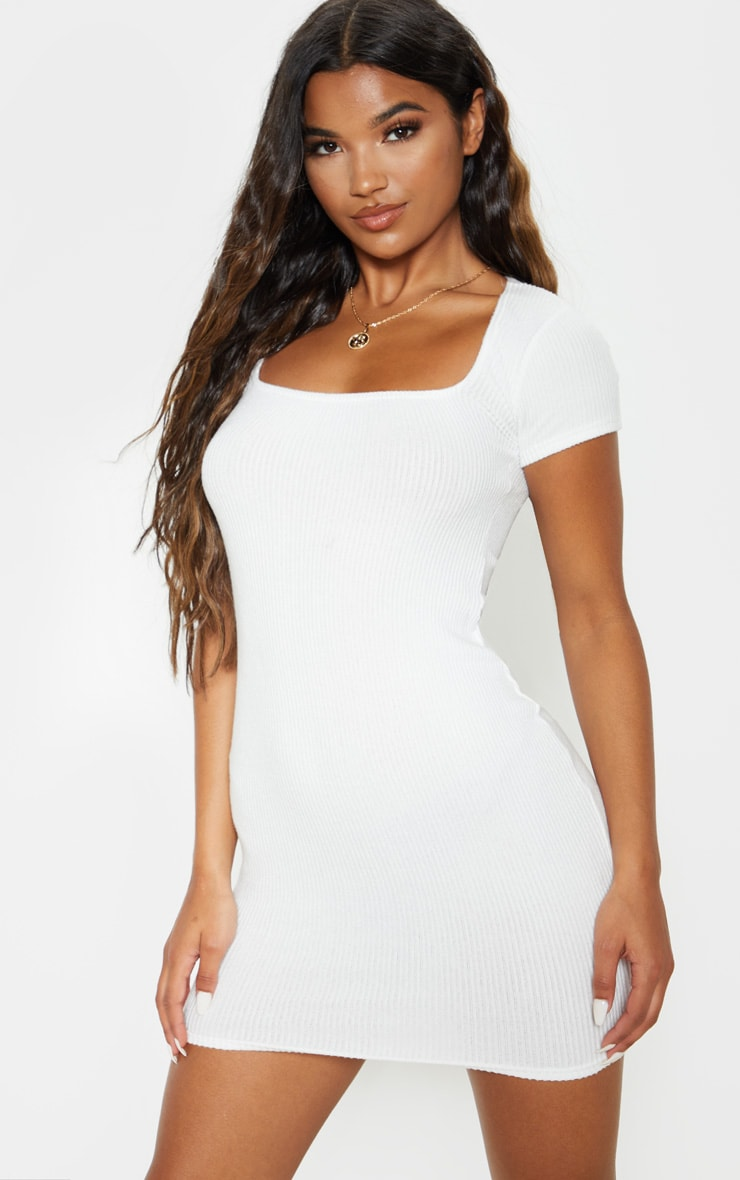 White Square Neck Brushed Rib Bodycon Dress 1