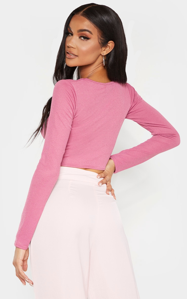 Washed Violet Crepe Hook and Eye Cut Out Crop Top  2