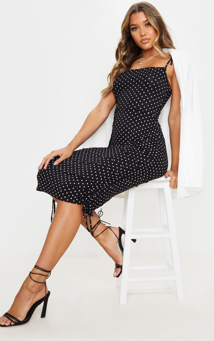 Black Heart Print Tie Strap Ruched Midi Dress 3