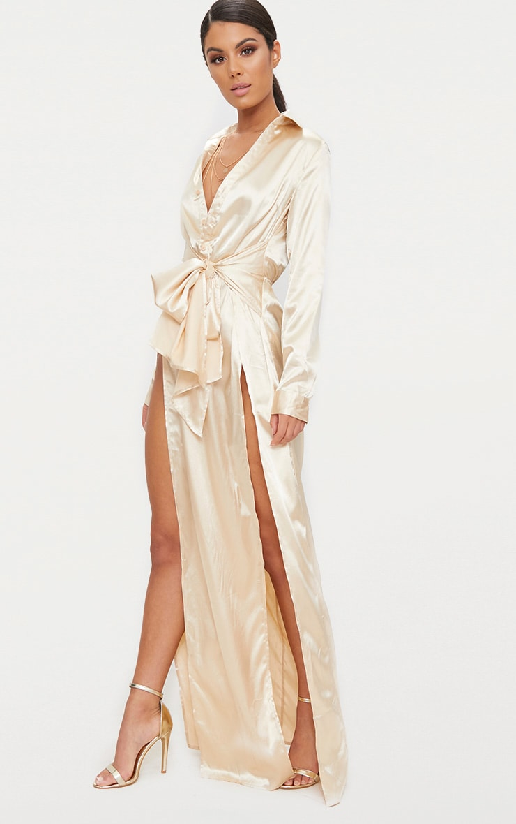 Champagne Satin Extreme Split Waist Tie Shirt Maxi Dress  4