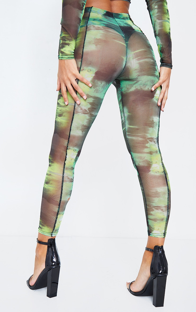 Green Abstract Water Colour Print Sheer Mesh Binding Leggings 5