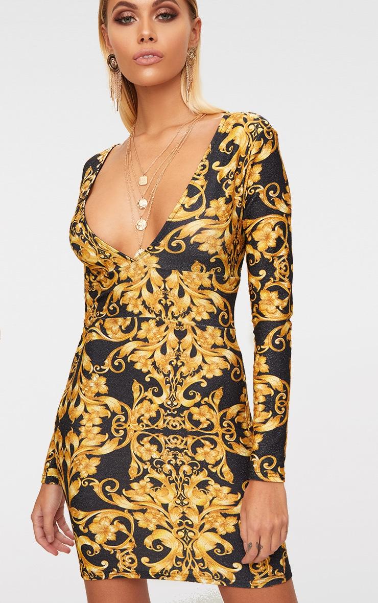 Black Glitter Baroque Print Long Sleeve Plunge Bodycon Dress 5