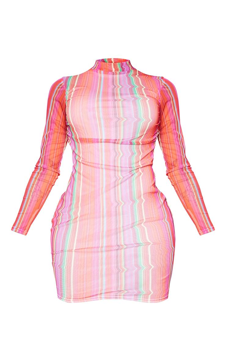 Shape Multi Stripe High Neck Mesh Bodycon Dress 5