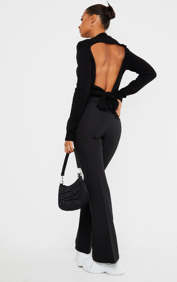 Black Tie Back Knitted Jumper 1