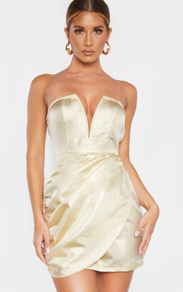 Champagne Textured Glitter V Bar Bandeau Ruched Bodycon Dress 1