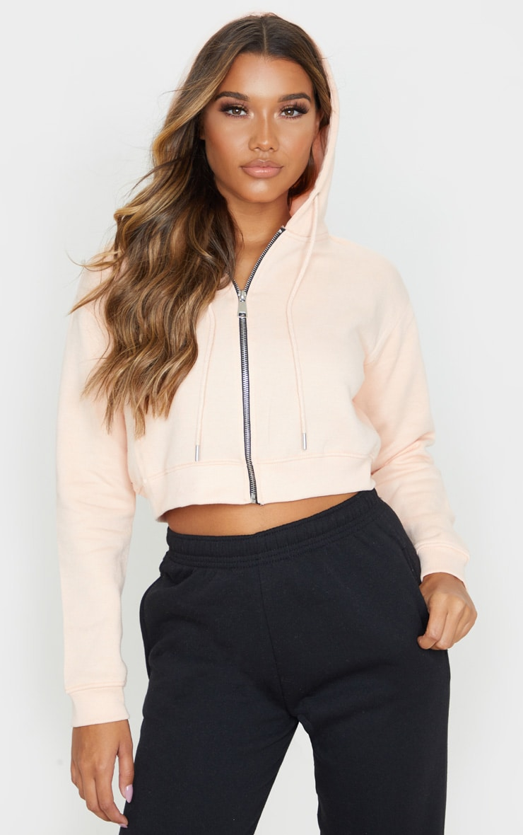 Blush Crop Zip Long Sleeve Hoodie 1