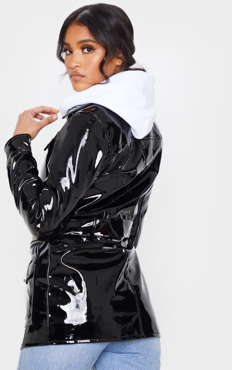 Black Vinyl Utility Belted Jacket 2
