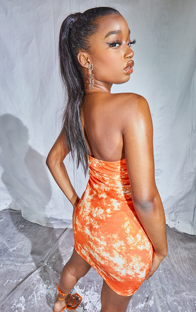 Orange Tie Dye Print Binded Detail Clear Strap Bodycon Dress 2