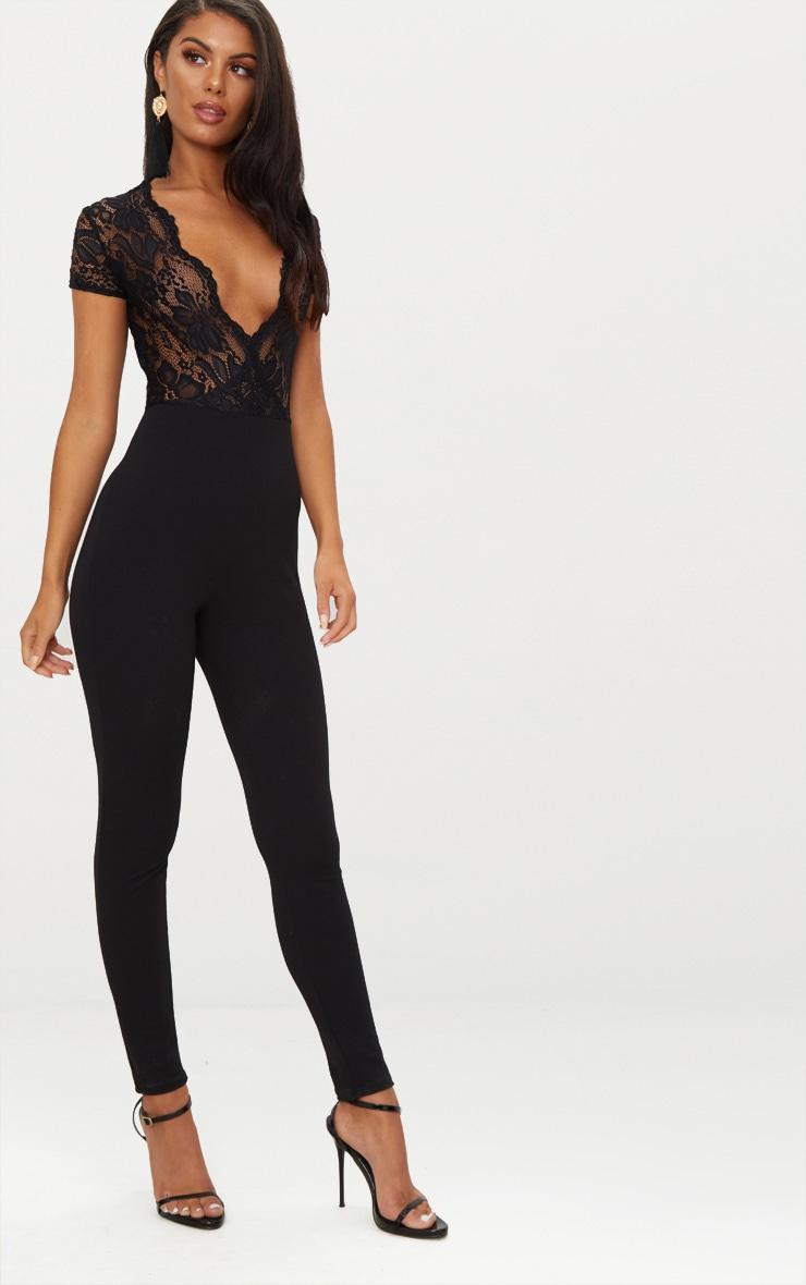 Black Lace Short Sleeve Jumpsuit 4