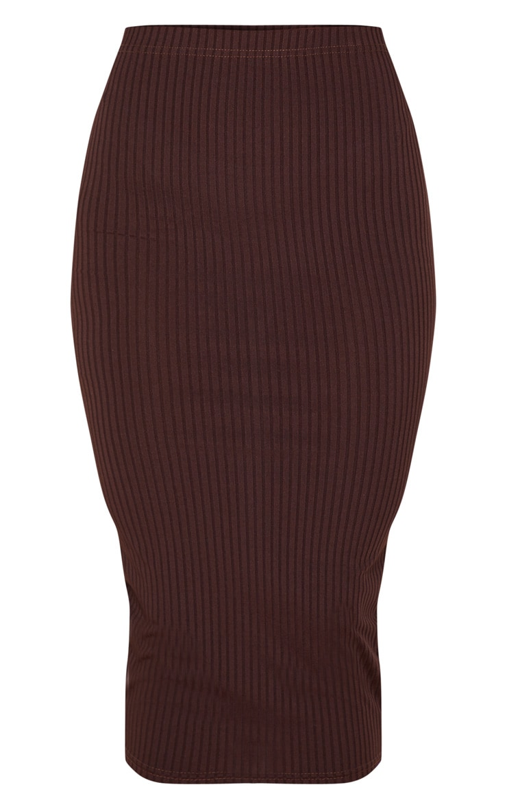 Brown Ribbed High Waist Midi Skirt 3