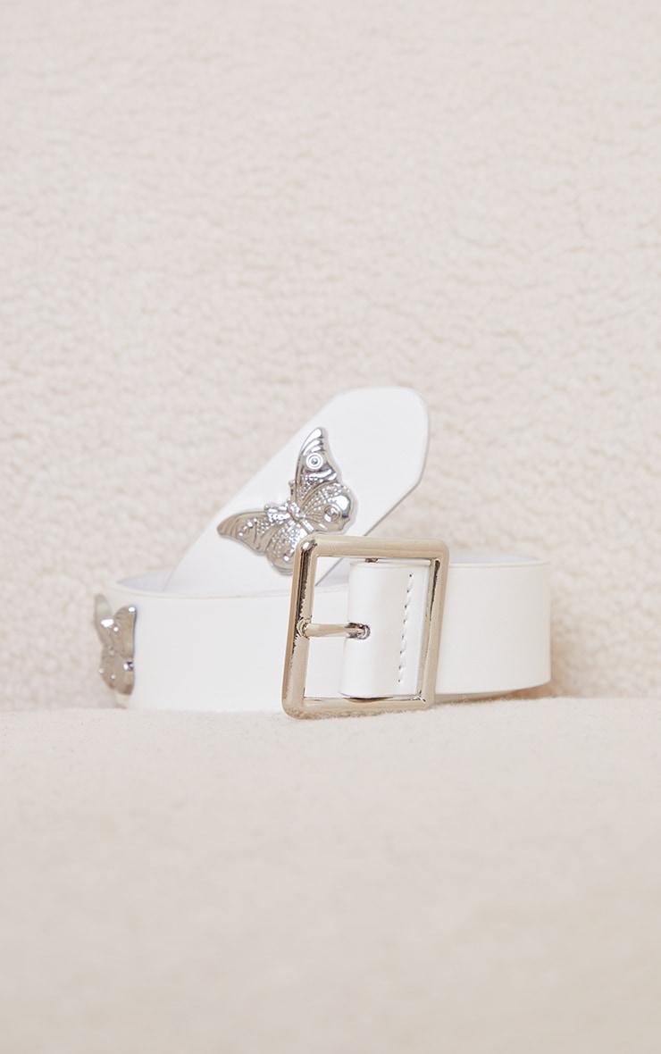 White Pu Silver Multi Butterfly Waist Belt 3