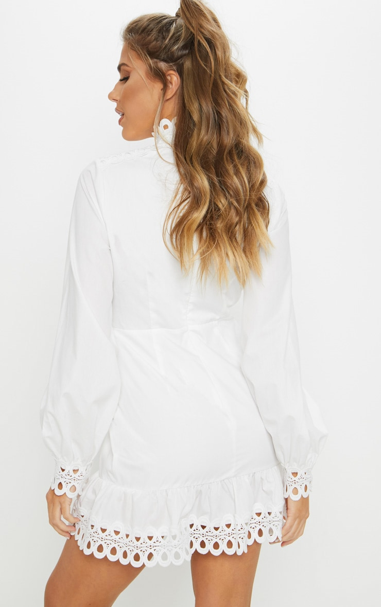 White Trim Detail High Neck Balloon Sleeve Shift Dress 2
