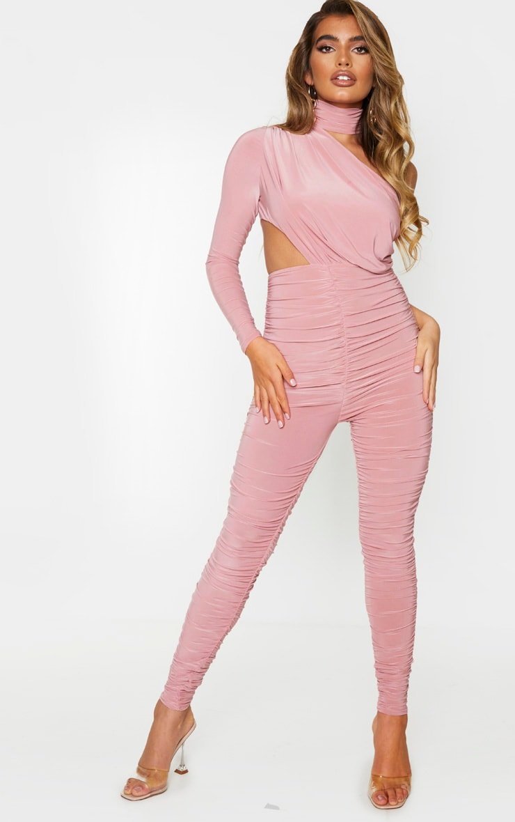 Baby Pink Ruched One Shoulder Jumpsuit 1