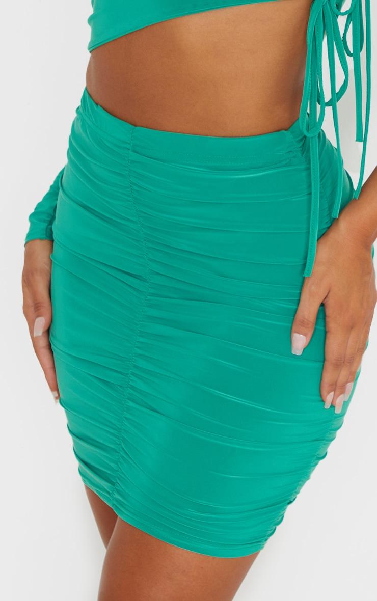 Bright Green Slinky Ruched Side Mini Skirt 5