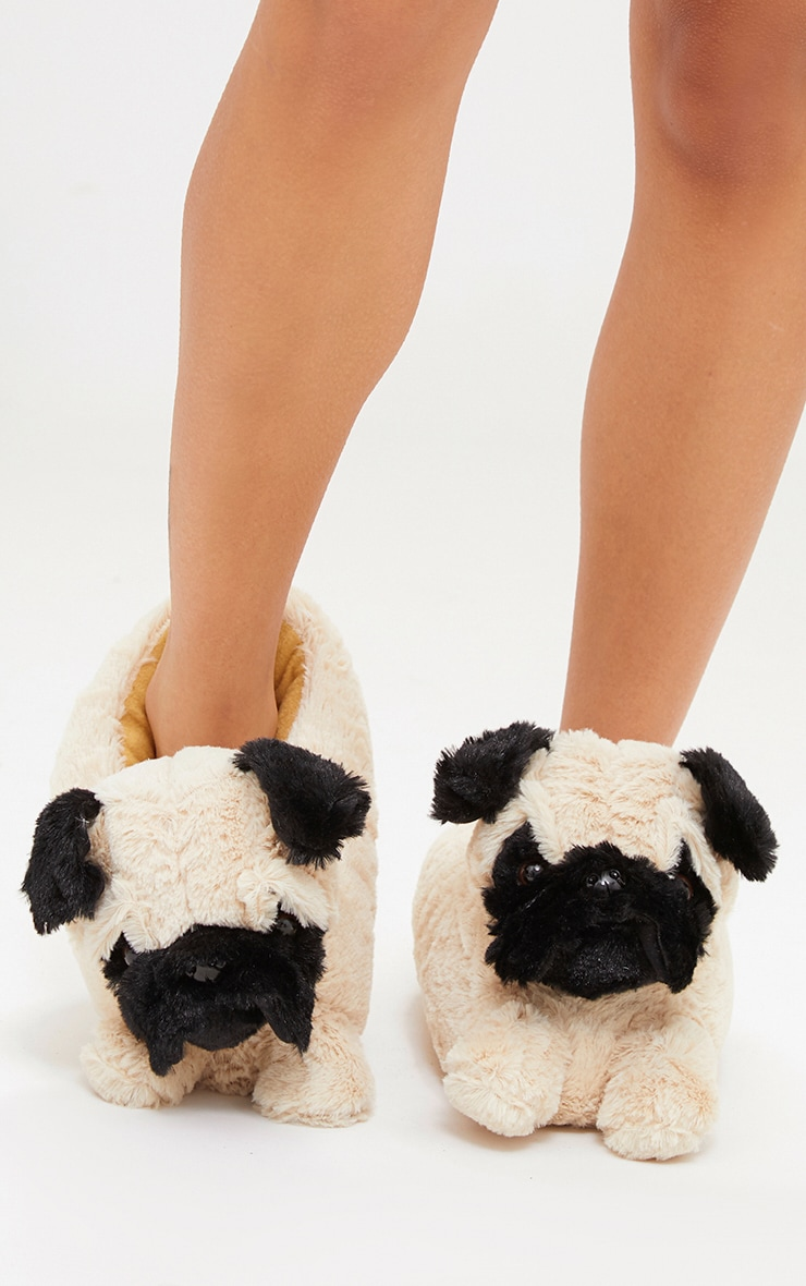 Brown Pug Slippers 1