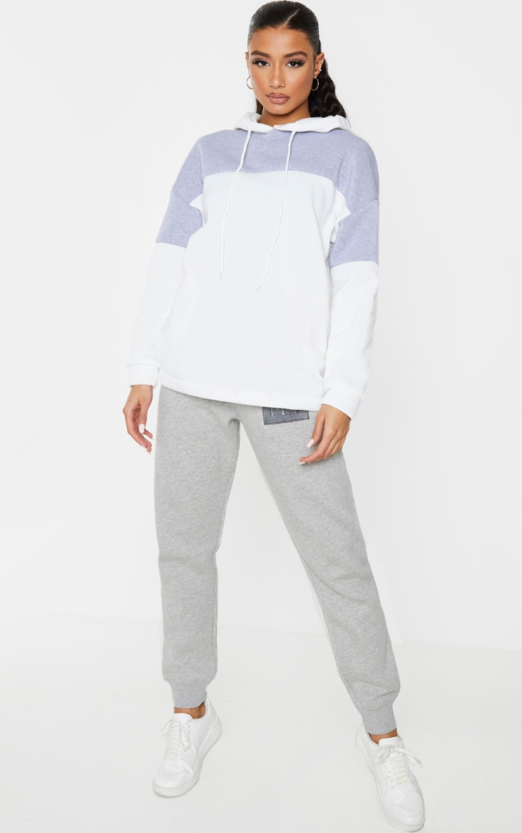 Grey Contrast Panel Oversized Hoodie image 3