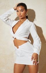 White Linen Feel Ring Front Mini Skirt 4
