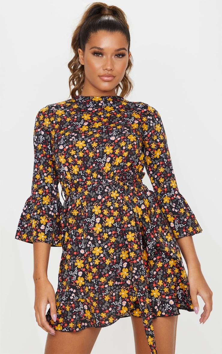 Black Floral Frill Hem Wrap Front Tea Dress 4