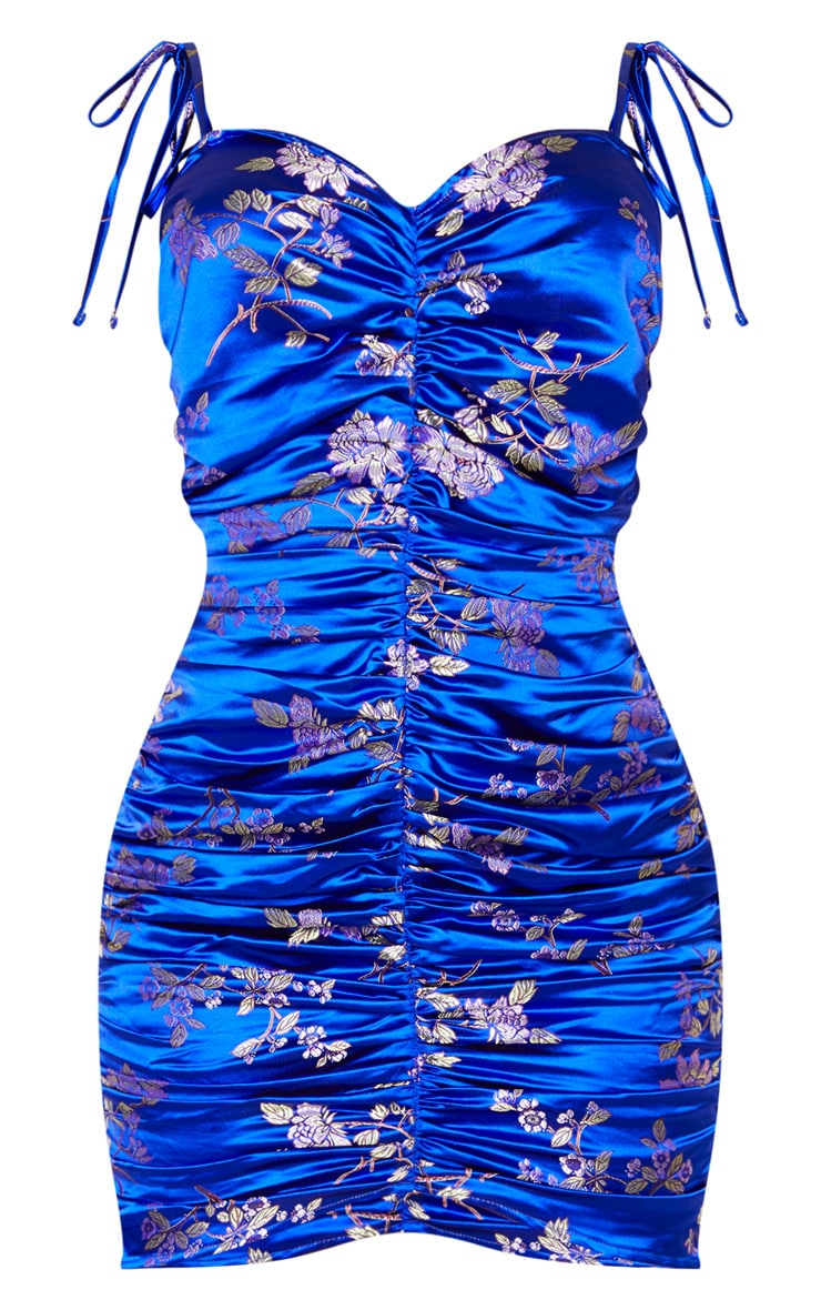 Cobalt Floral Satin Jacquard Strappy Ruched Bodycon Dress 3