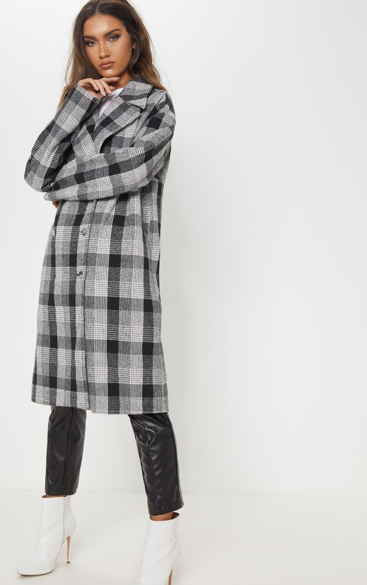 Grey Checked Oversized Coat
