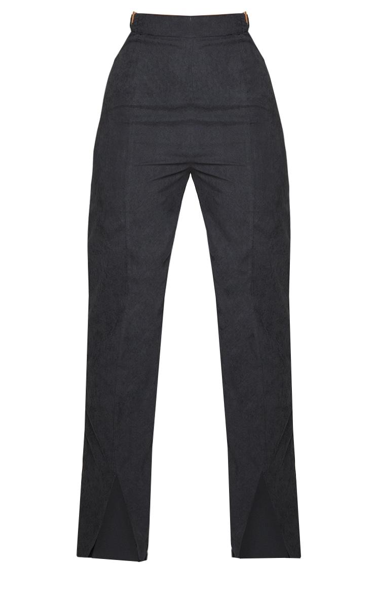Black Woven Cut Out Ring Detail Split Hem Straight Leg Pants 5