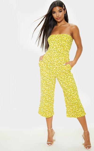 Yellow Ditsy Floral Bandeau Culotte Jumpsuit