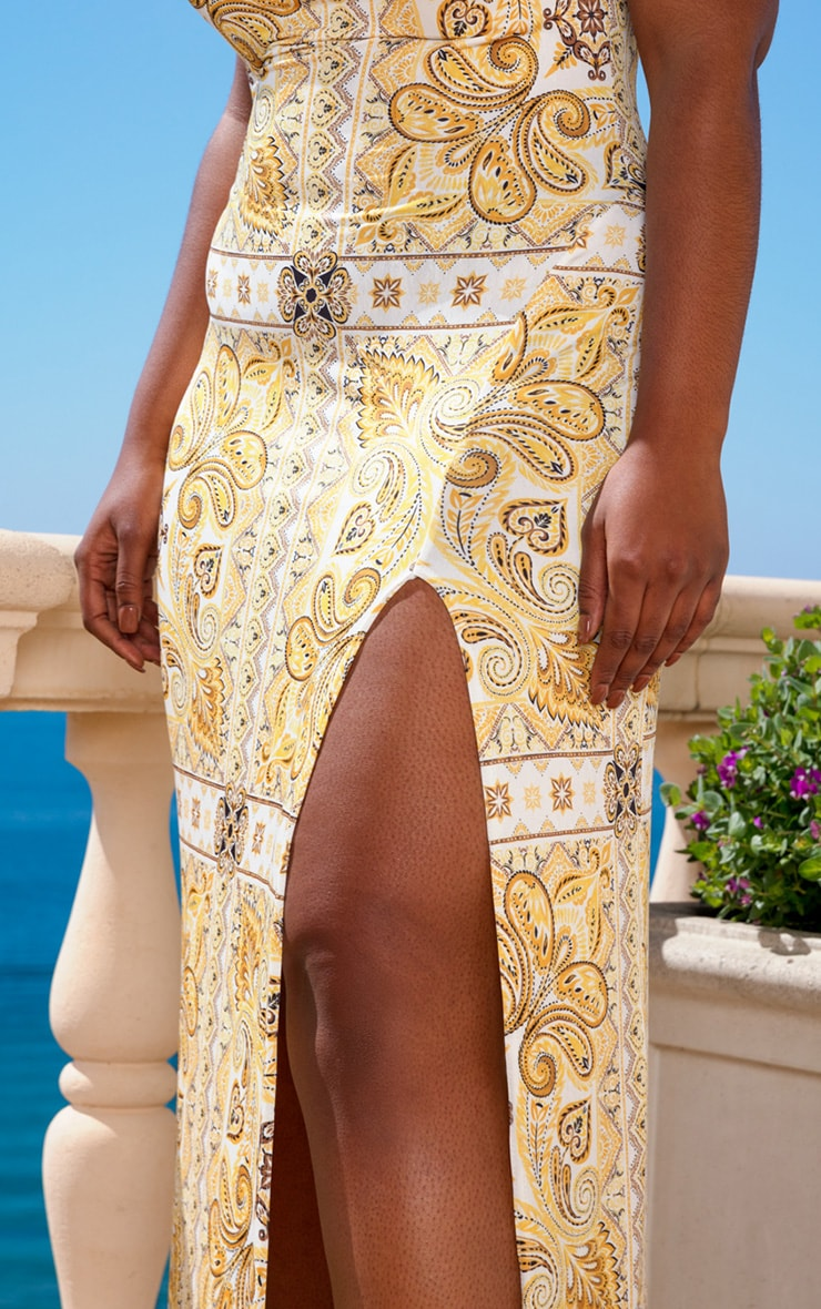 Plus Yellow Tile Print Cowl Neck Maxi Dress 4