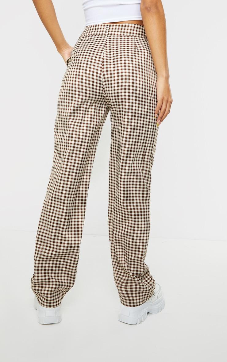 Brown Check Woven Straight Leg Pants 3