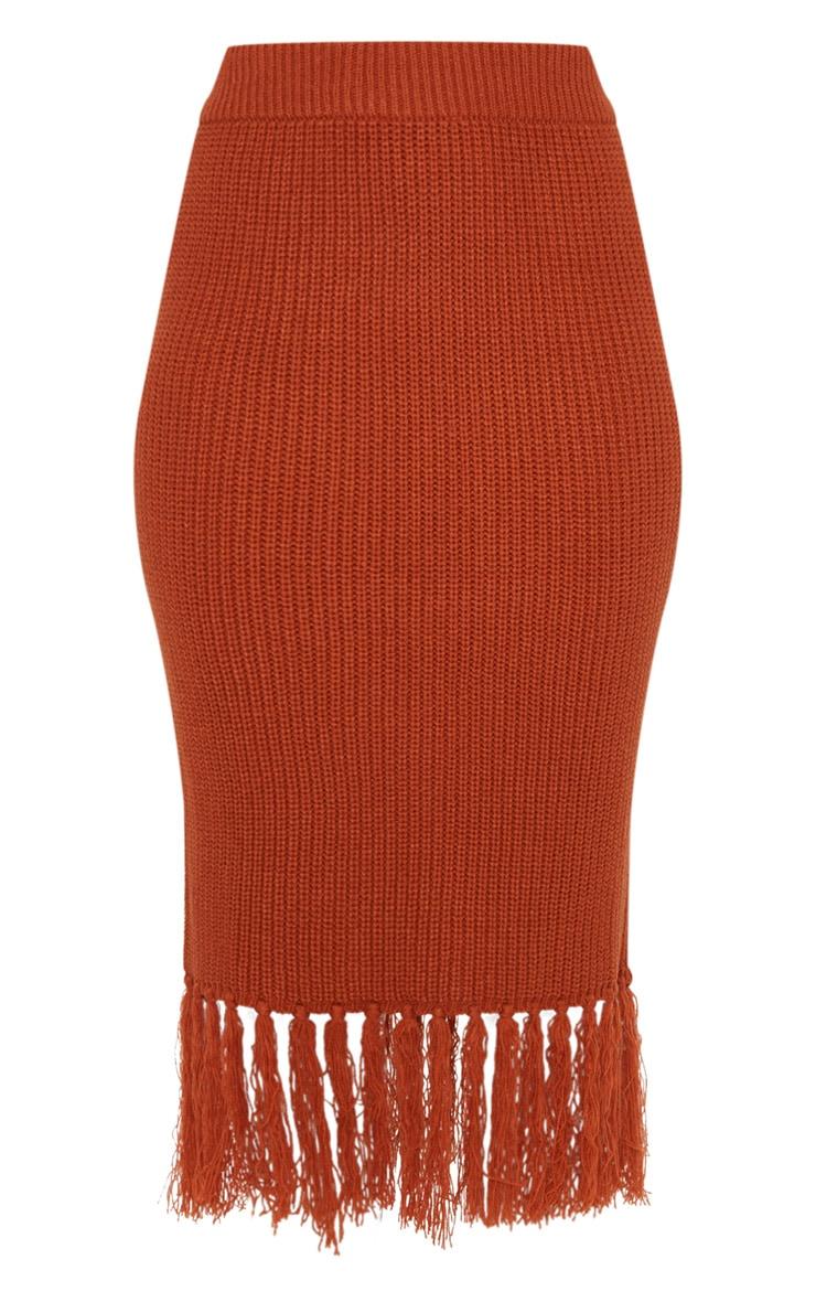 Rust Tassel Hem Knitted Midi Skirt  3