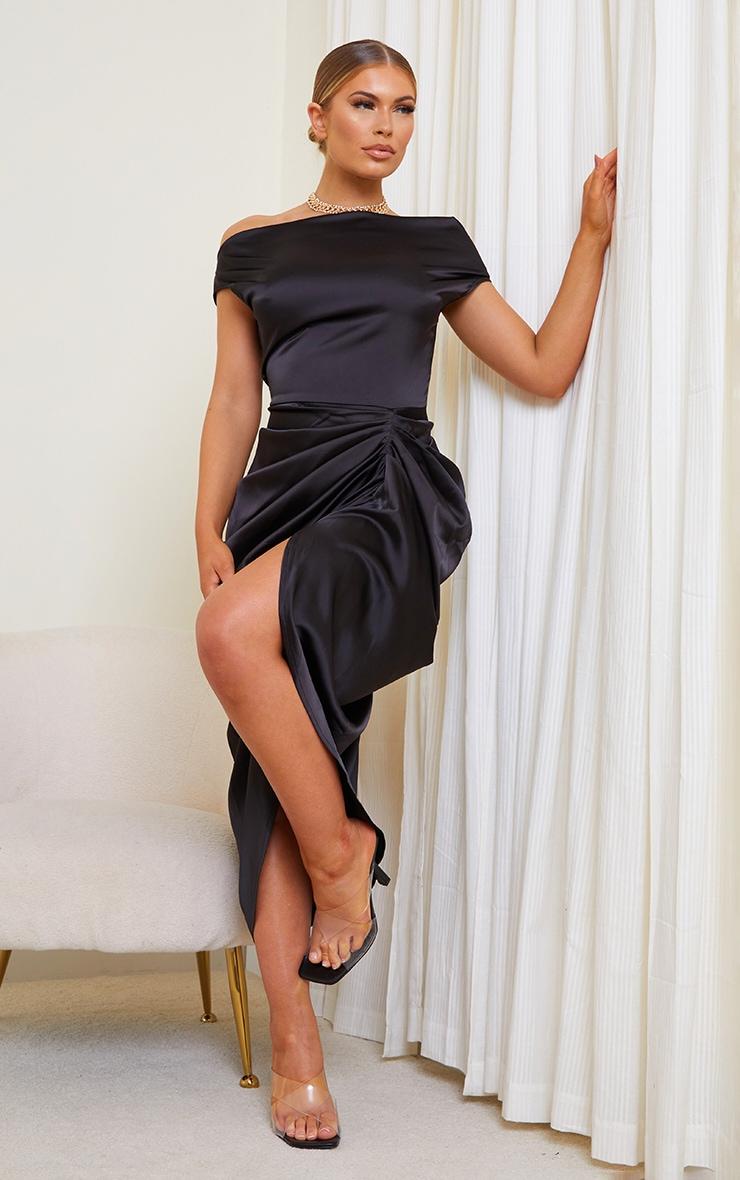 Black Satin Off The Shoulder Draped Skirt Midi Dress 1