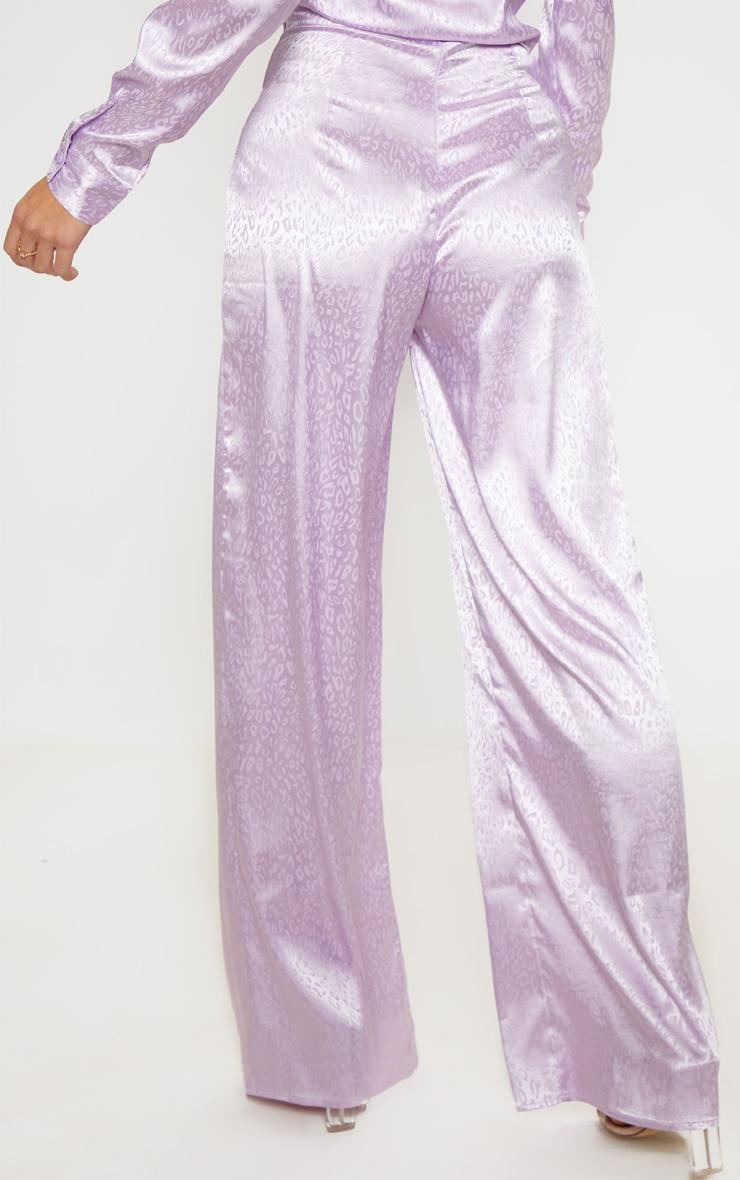 Lilac Satin Jacquard Wide Leg Trouser 4
