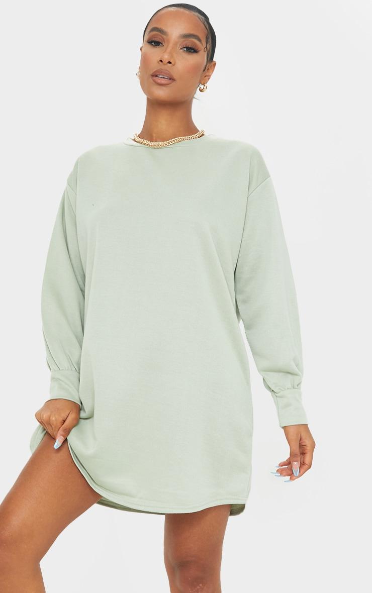 Sage Green Oversized Jumper Sweater Dress 1