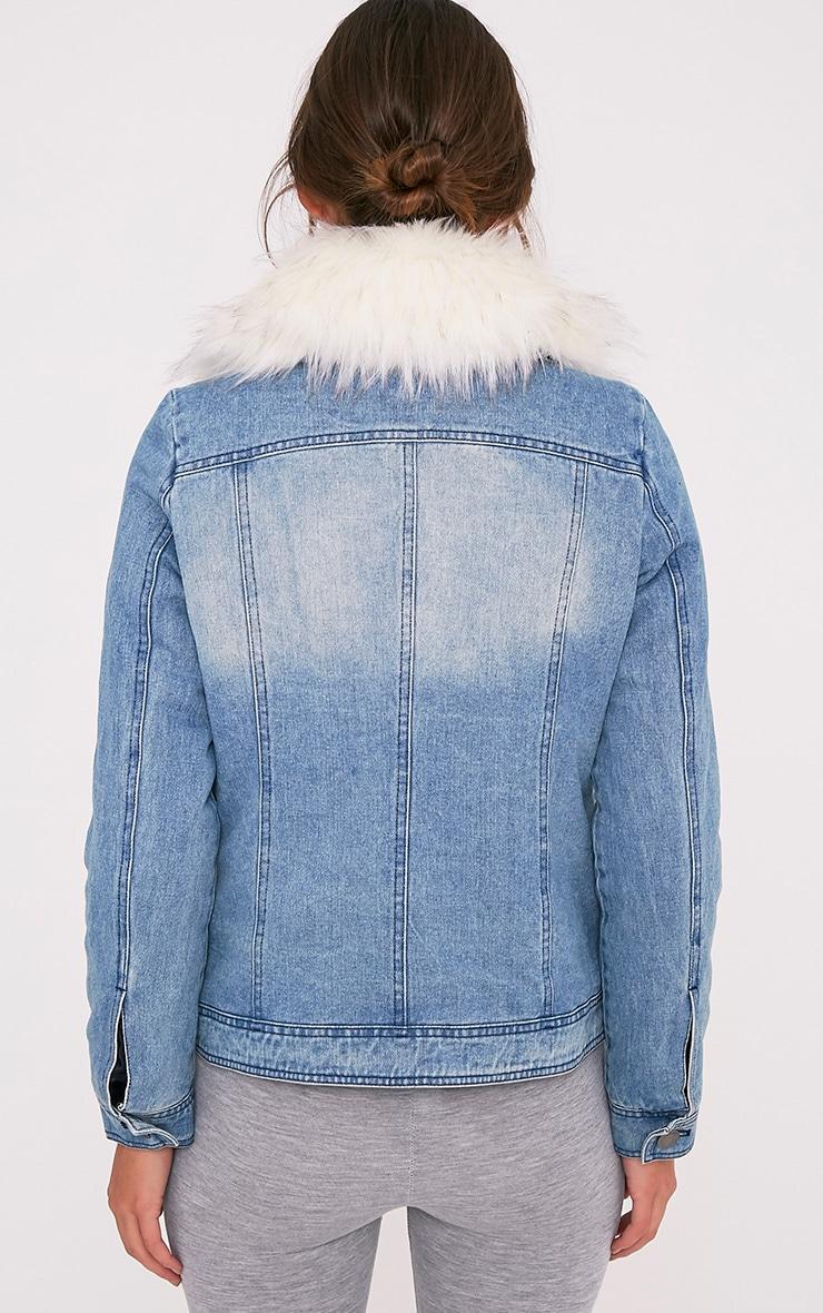 Yalena Denim Faux Fur Lined Jacket 2