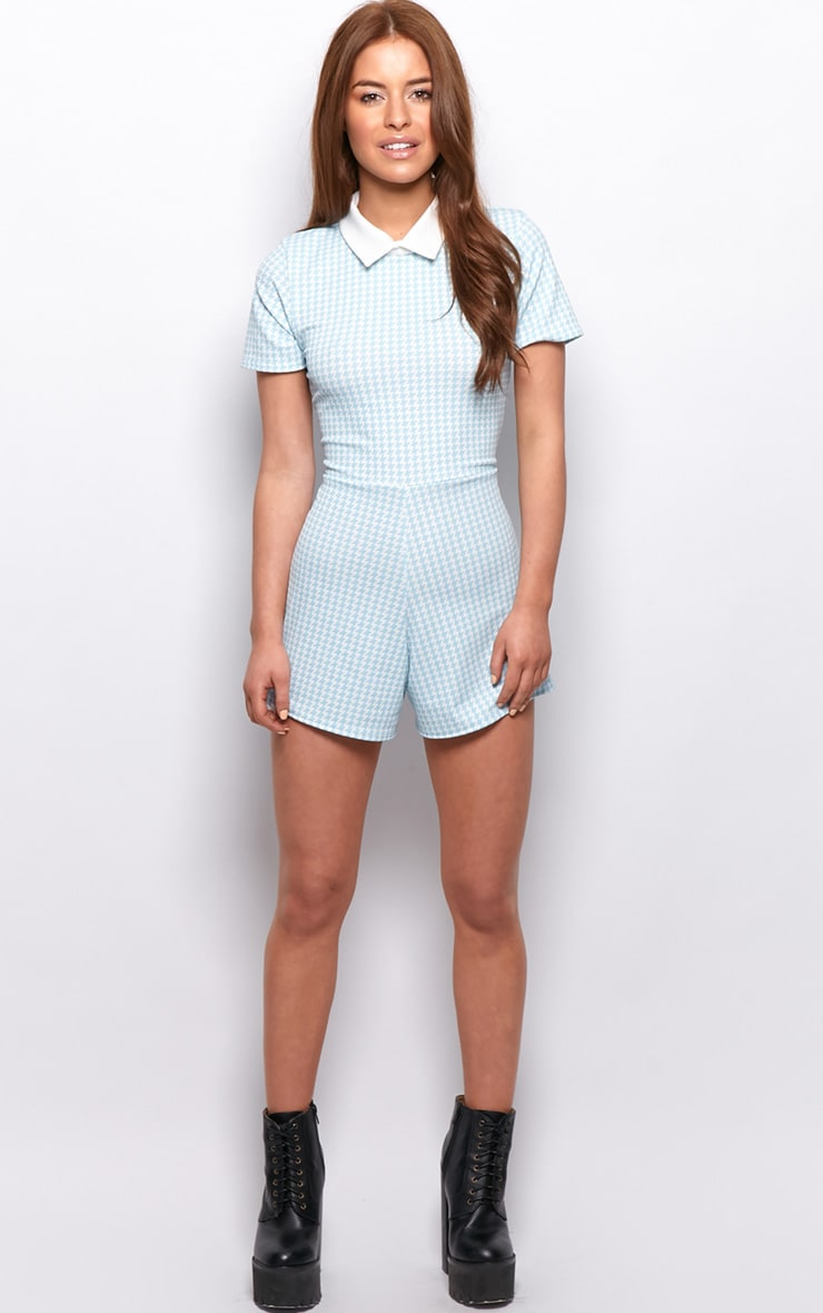 Sara Blue & White Dogtooth Playsuit 3