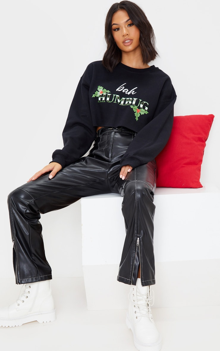 Black Bah Humbug Cropped Sweatshirt 4