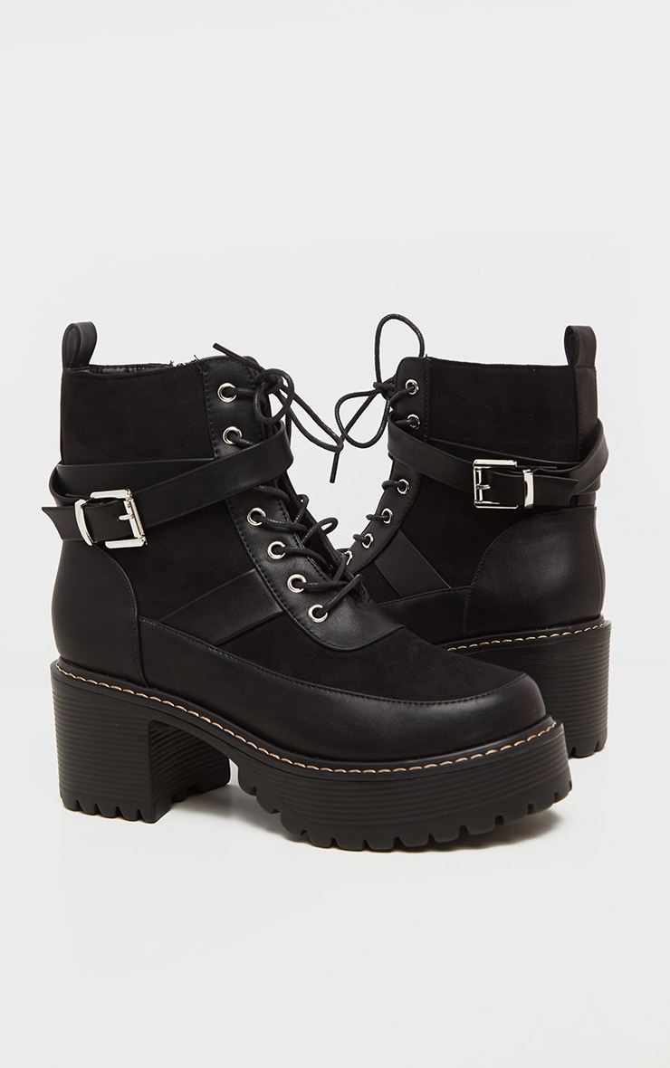 Black Cleated Platform Ankle Buckle Lace Up Ankle Boot 4