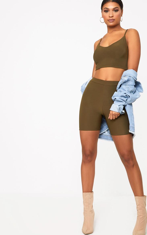 Short-legging kaki taille haute 5