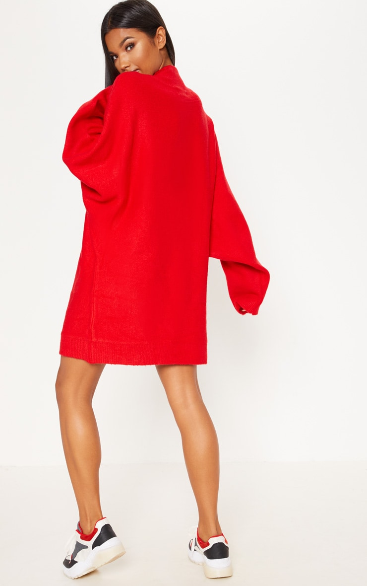 Red Knitted Jumper Dress 2