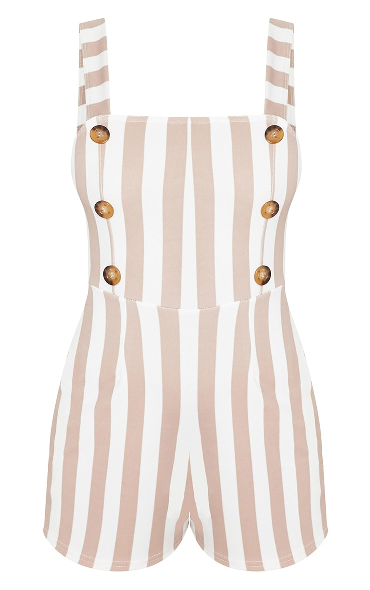 Petite Stone Button Detail Striped Playsuit 3